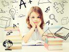 a small girl doing her homework