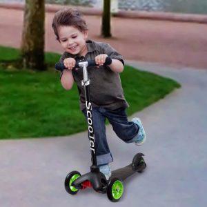 A boy riding a scooter