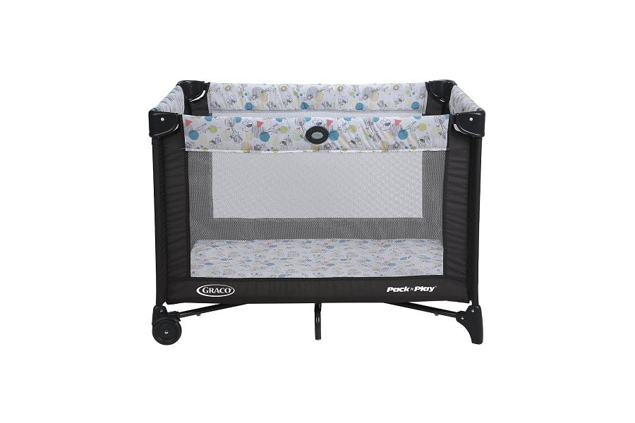 the front side of a graco playard with automatic folding feet Top 6 Best Pack and Play Travel Playards