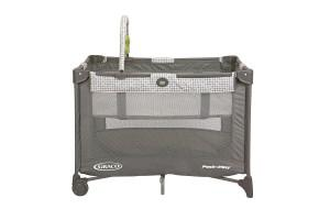 the front side of the graco bassinet playard with automatic folding feet