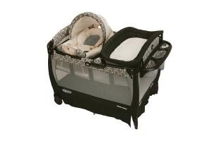 a nice playard with cuddle cove rocking seat