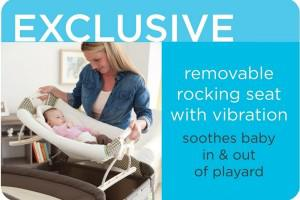 the features of the graco playard with cuddle cove rocking seat